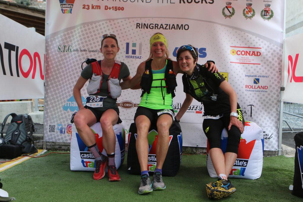 Il podio femminile del Castles Trail