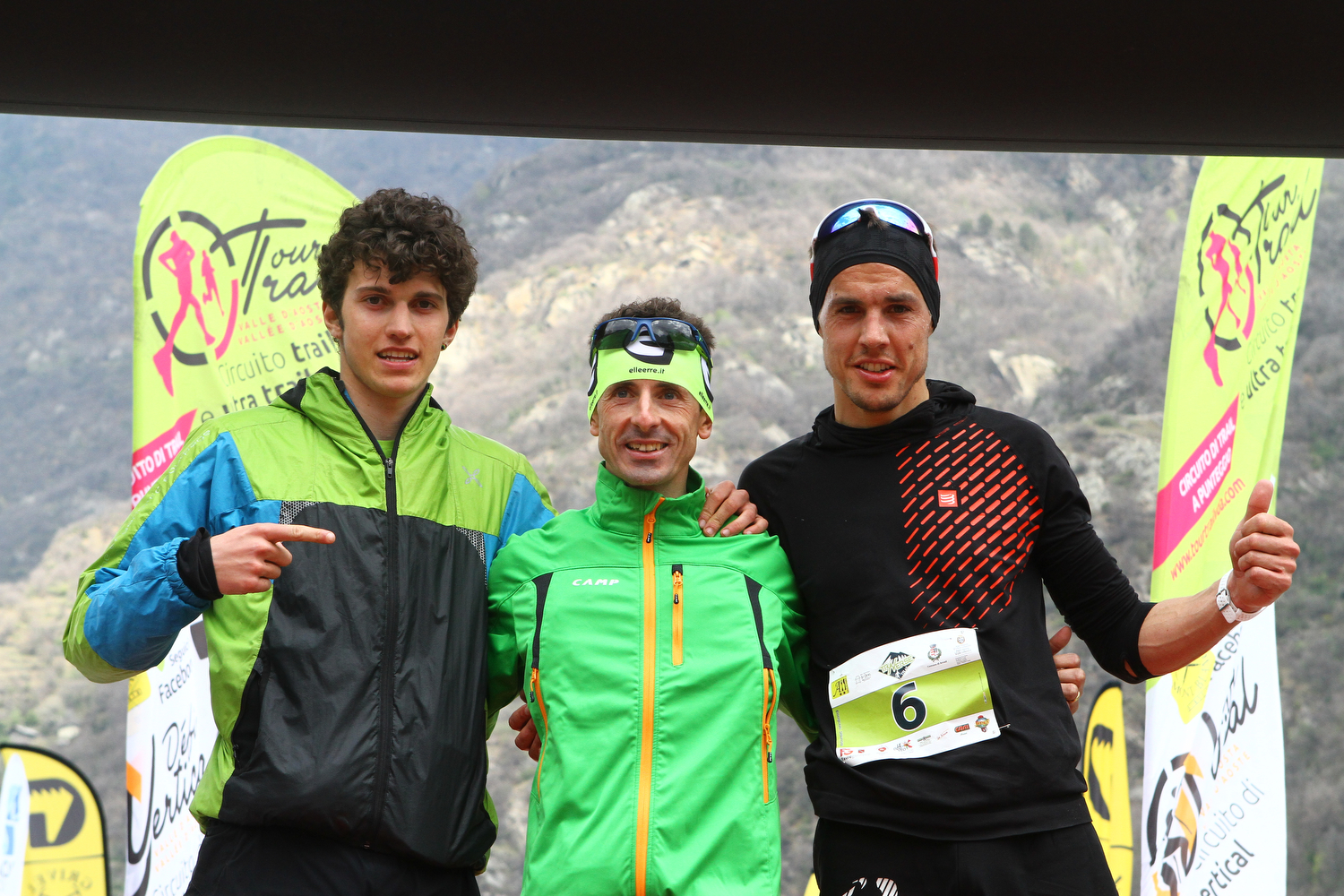 Podio maschile Traverse Trail Mathieu Brunod Dennis Brunod Michael Moulin