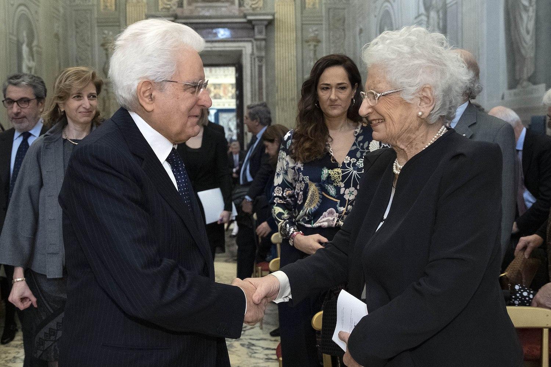 La Senatrice a vita Liliana Segre con il Presidente della Repubblica Sergio Mattarella