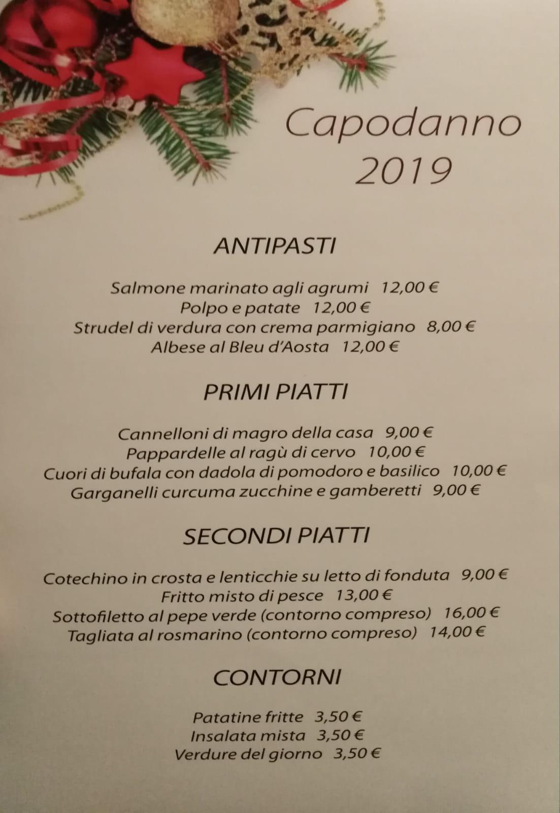 Locanda Rita, menu di Capodanno