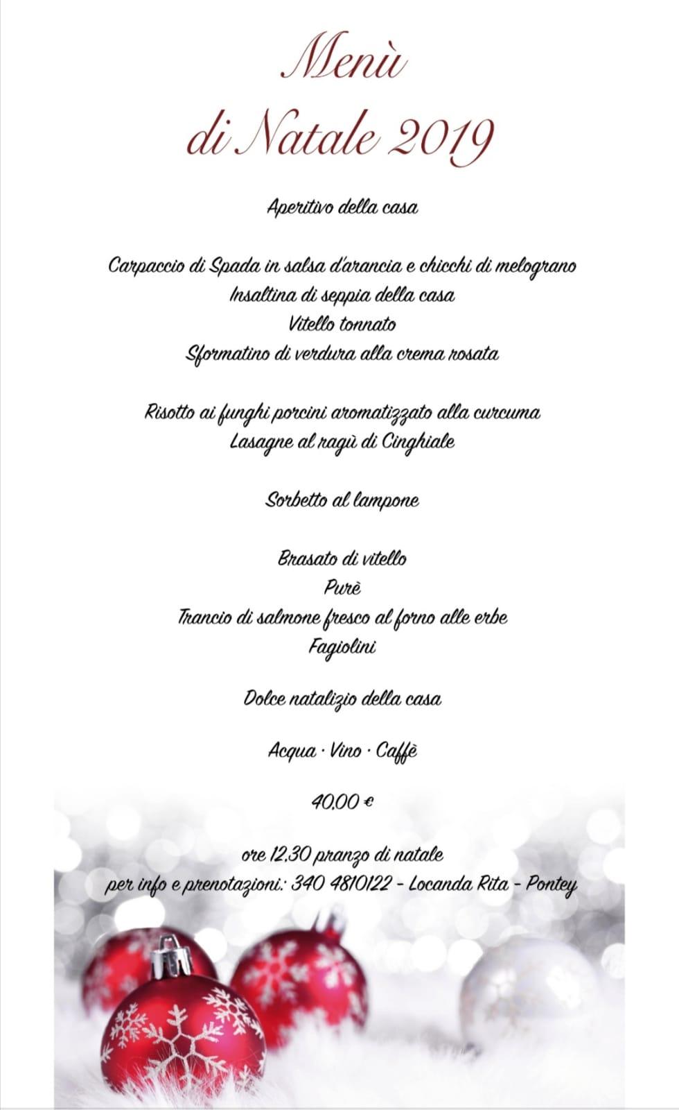Locanda Rita, menu di Natale