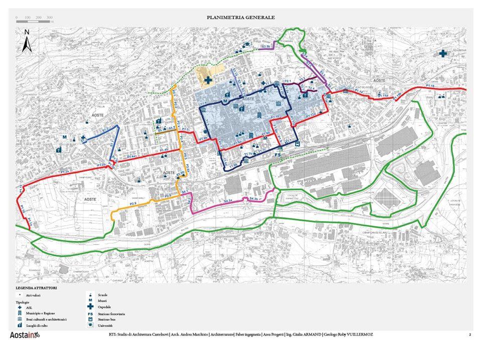 La planimetria del progetto Aosta in biciletta