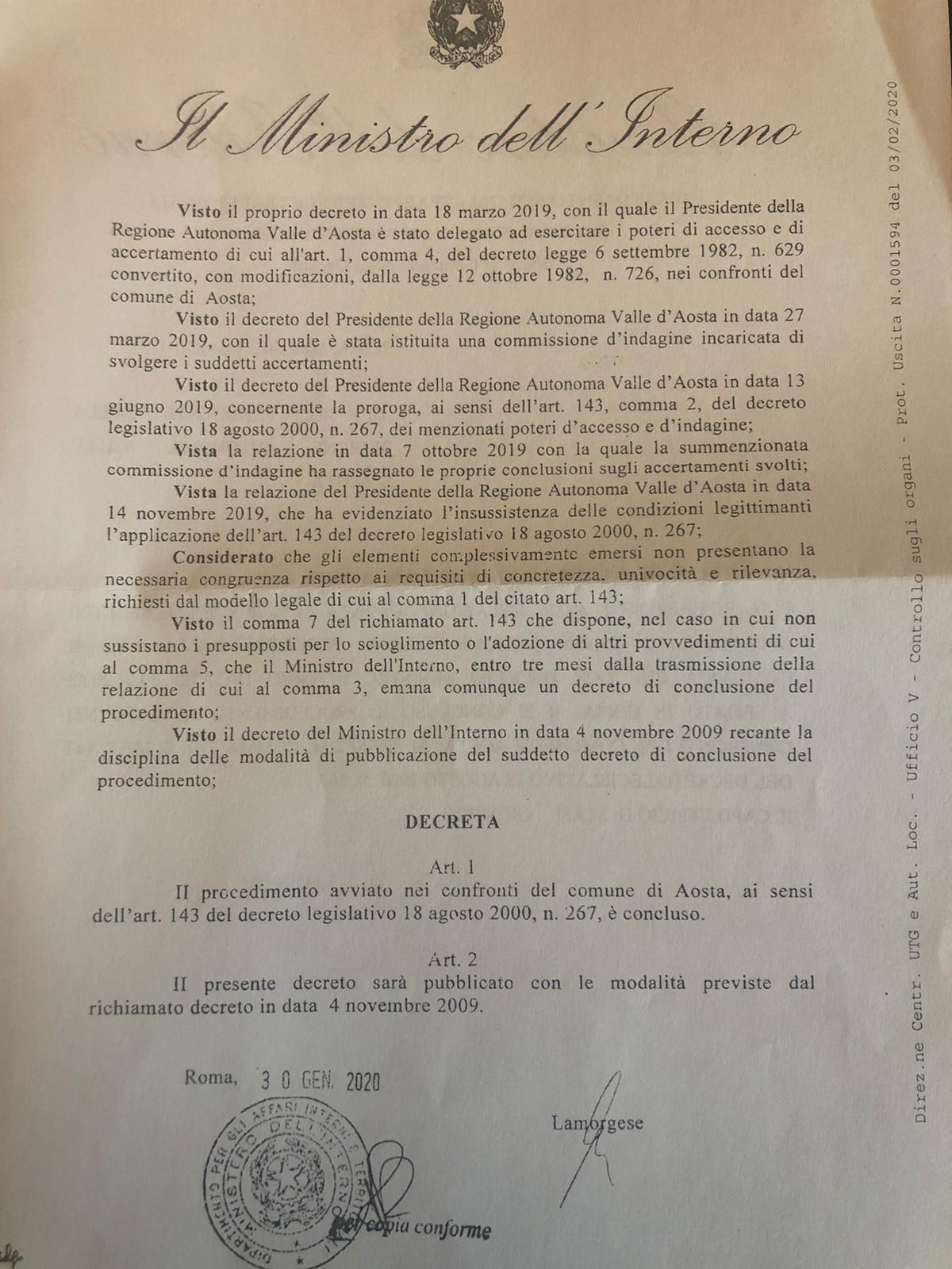 Decreto Ministero accesso antimafia Aosta