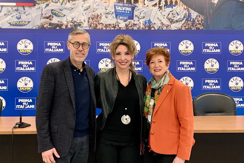 Sammaritani Spelgatti e Boldi alla sede della Lega a Milano