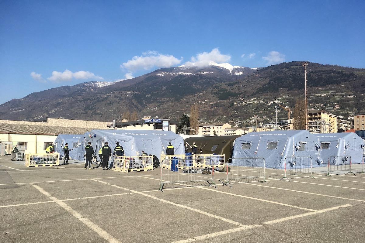 L'ospedale da campo ad Aosta