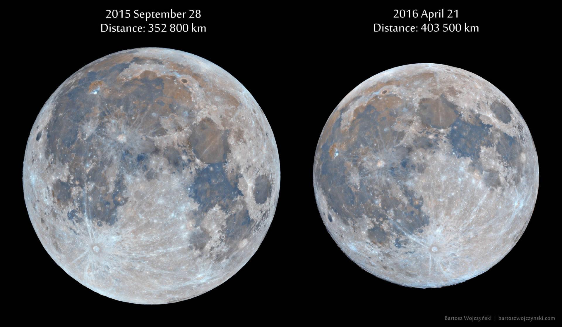 Differenza di diametro apparente della Luna piena al perigeo (28 settembre 2015) e all'apogeo (21 aprile 2016) Credit & Copyright: Bartosz Wojczyński http://i.imgur.com/mLF73KY.jpg