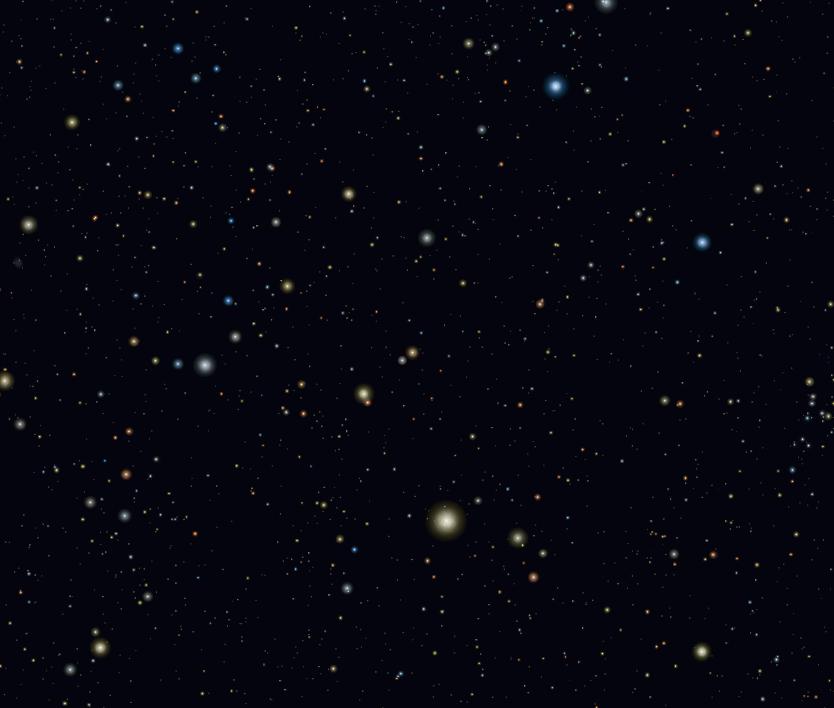 La costellazione di Boote con la brillante stella Arturo (in basso, al centro)