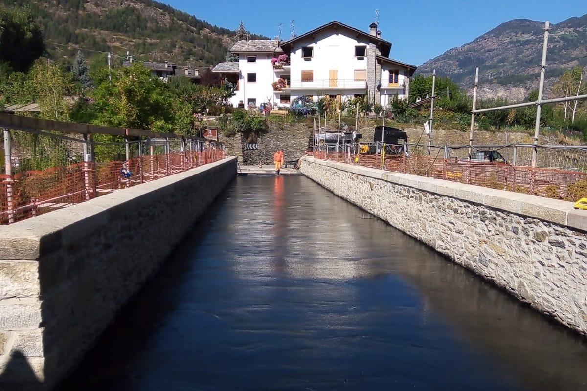 I lavori al ponte di Introd