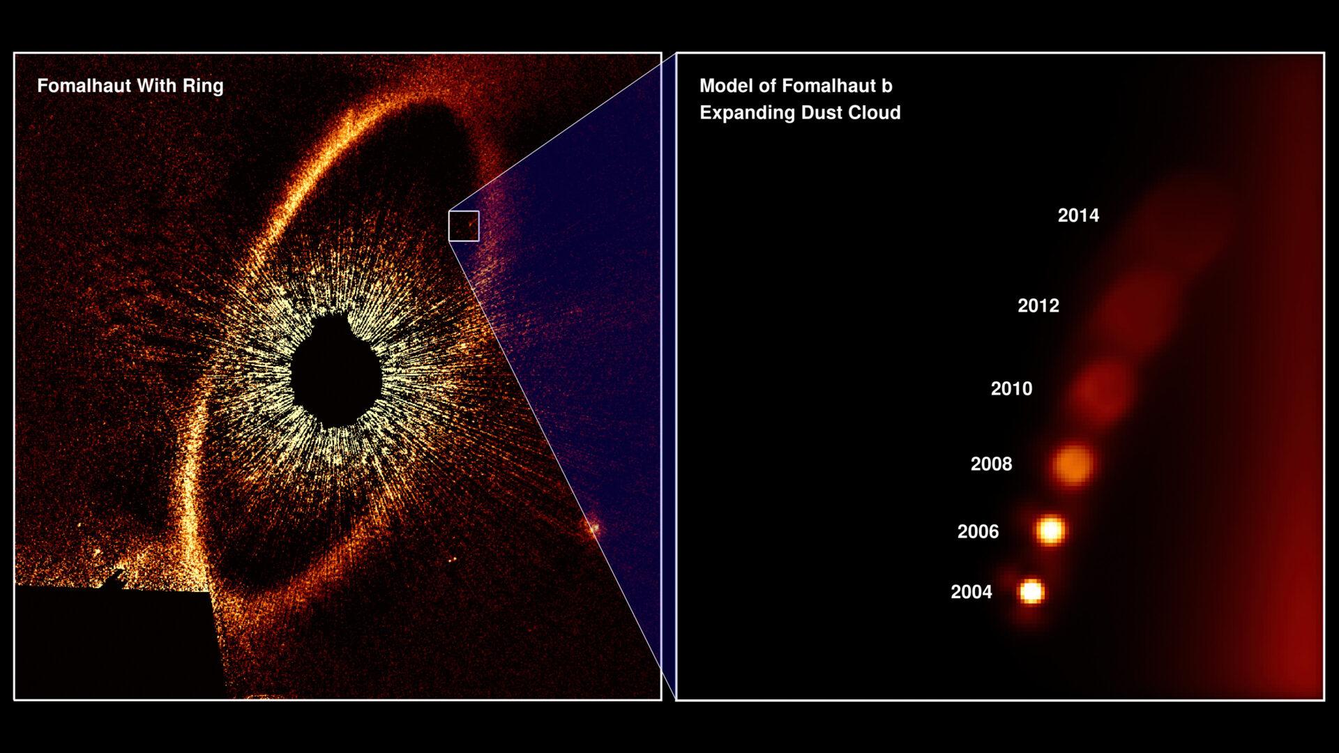Pensavo fosse un esopianeta, invece era una nube di detriti: le osservazioni di Hubble Space Telescope rivelano la vera natura dell'oggetto in orbita attorno a Fomalhaut Crediti: NASA, ESA, and A. Gáspár and G. Rieke (University of Arizona) https://www.spacetelescope.org/images/heic2006b/