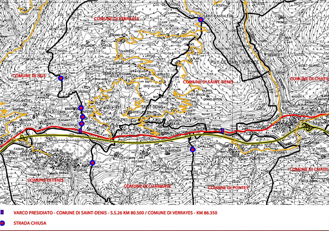 Le zone rosse a Saint Denis Chambave e Verrayes