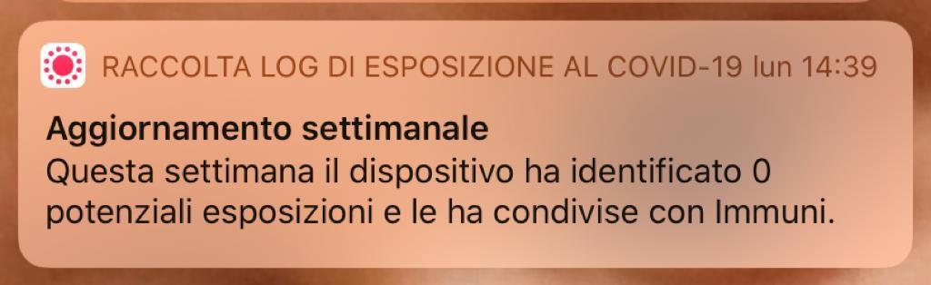 Una notifica dell'App Immuni