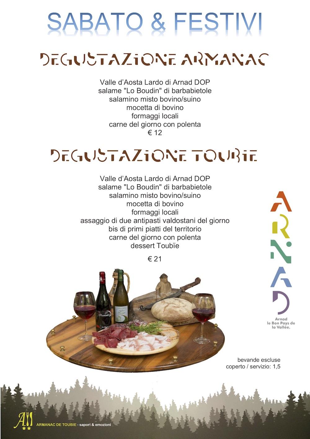 menu degustazione Armanac