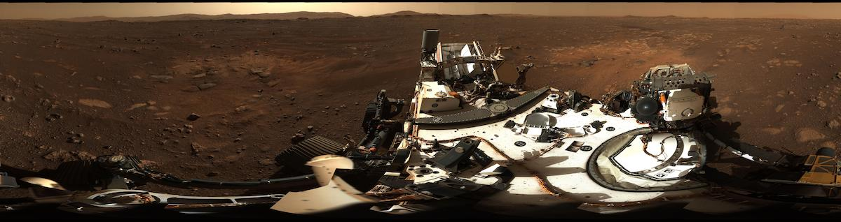 Panorama a 360°di Marte ripreso dallo strumento Mastcam-Z del rover Perseverance Crediti: NASA/JPL-Caltech/MSSS/ASU https://photojournal.jpl.nasa.gov/catalog/PIA24264