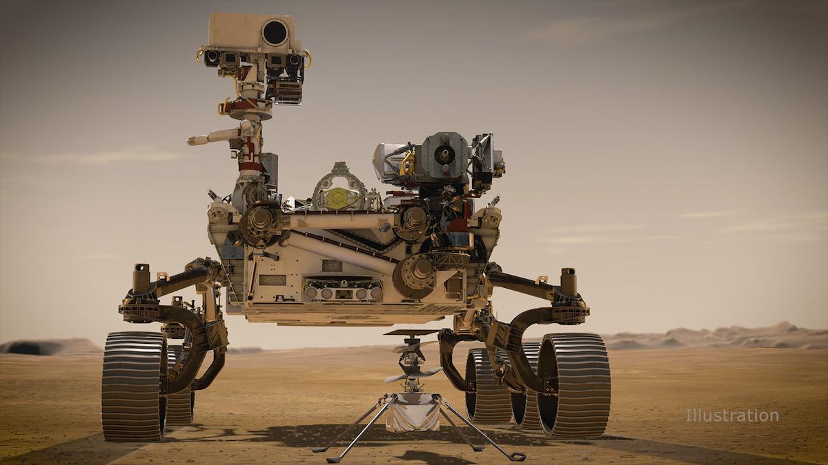 Didascalia rollover: Rappresentazione artistica del rover Perseverance e del drone Ingenuity su Marte Credit: NASA/JPL-Caltech https://mars.nasa.gov/resources/25118/portrait-of-perseverance-and-ingenuity-artists-concept/