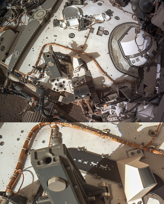 """La placca con """"l'evoluzione"""" dei rover montata sul rover Perseverance Credit: NASA/JPL-Caltech https://mars.nasa.gov/mars2020/multimedia/raw-images/NLG_0002_0667129947_370ECM_N0010052AUT_04096_00_2I3J01 Elaborazione di Filippo Galati https://www.facebook.com/filippogalatifotografia/posts/1811914458961304"""