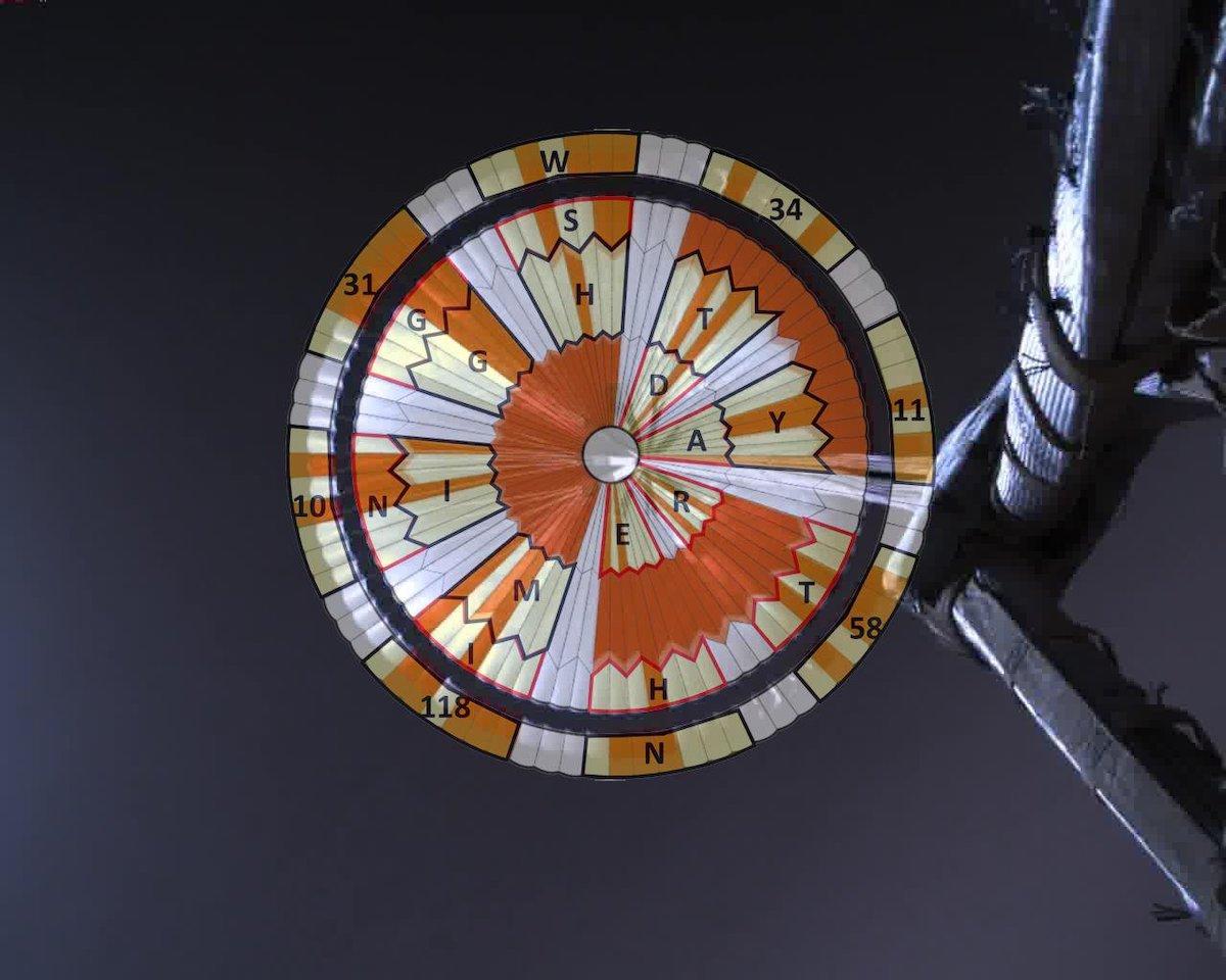 PIAIl paracadute di Perseverance con sovraimpresso il messaggio decifrato Credit: NASA/JPL-Caltech https://www.jpl.nasa.gov/images/mars-decoder-ring