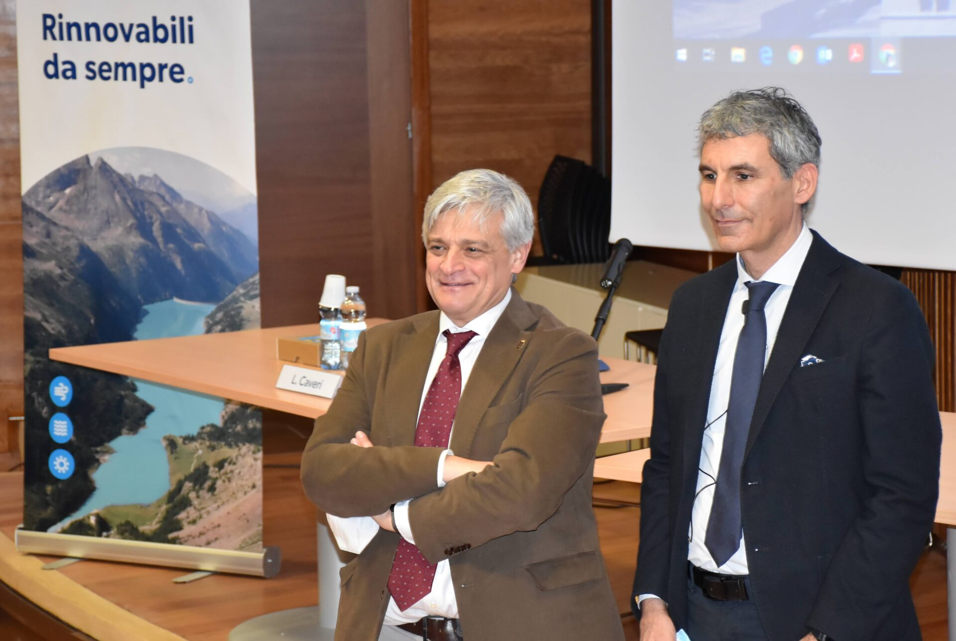 L'Assessore regionale Luciano Caveri con l'Amministratore delegato di CVA Enrico De Girolamo