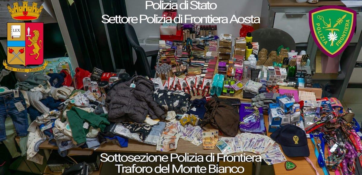 La merce sequestrata al traforo del Monte Bianco
