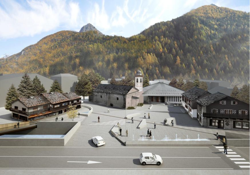 Simulazione di progetto di Piazza Dondeynaz vista da ovest