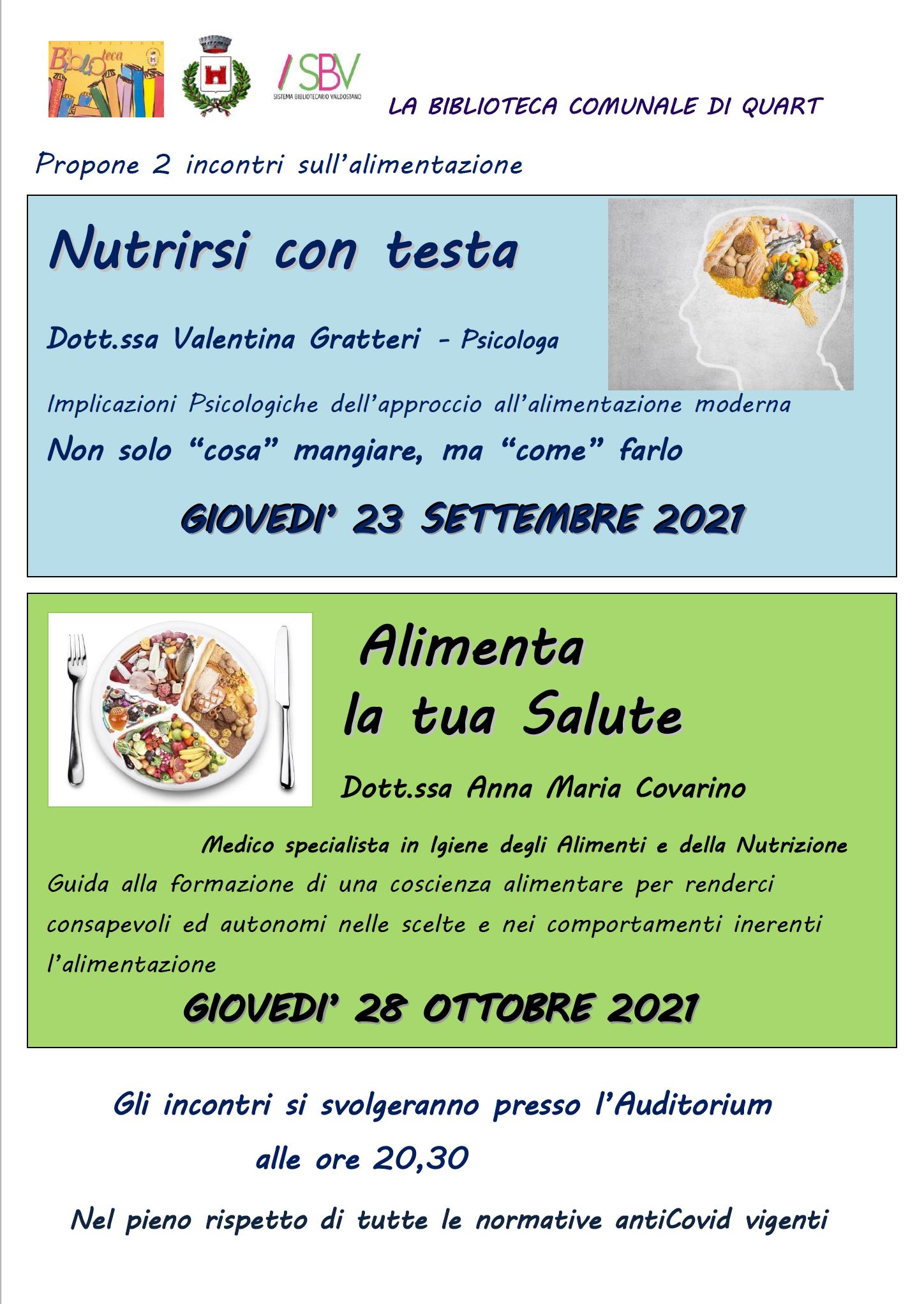 Locandina incontri alimentazione Biblioteca di Quart