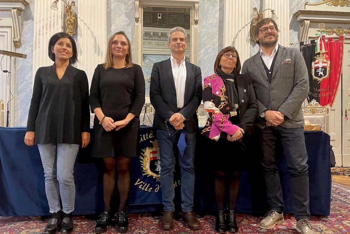 Da sx Ester Leone, Valeria Spandre, Gianni Nuti, Alessandro Trento e Clotilde Forcellati