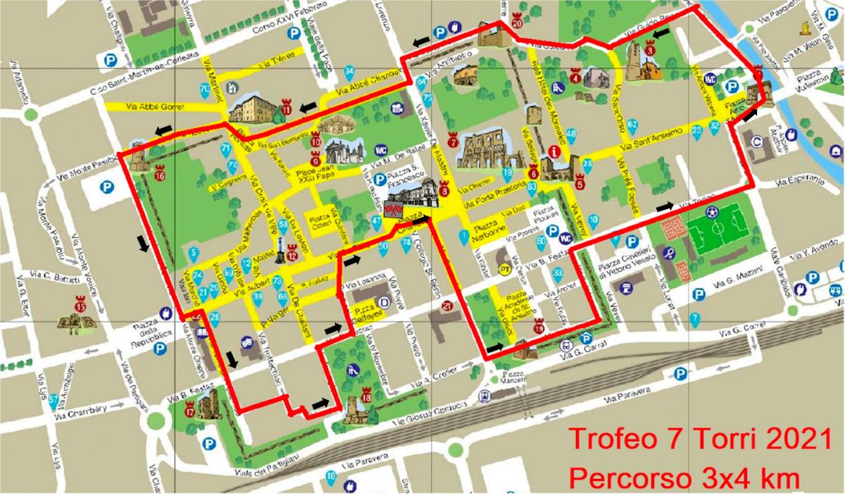 Il percorso della staffetta 3x4 km