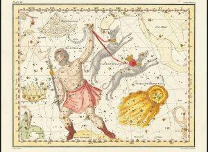 La costellazione della Chioma di Berenice (in basso a destra) nel volume A Celestial Atlas di Alexander Jamieson (1822)