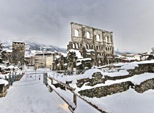 Aosta sotto la neve