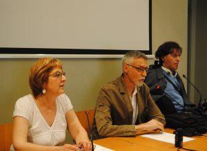 Rete Civica, i consiglieri regionali Chiara Minelli e Alberto Bertin. Al centro il consigliere comunale di Aosta Loris Sartore