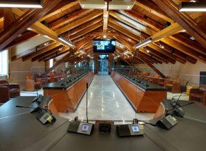 L'aula del Consiglio comunale di Aosta
