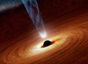 Un buco nero super massiccio circondato dal disco di accrescimento, che emette onde elettromagnetiche e getti di plasma